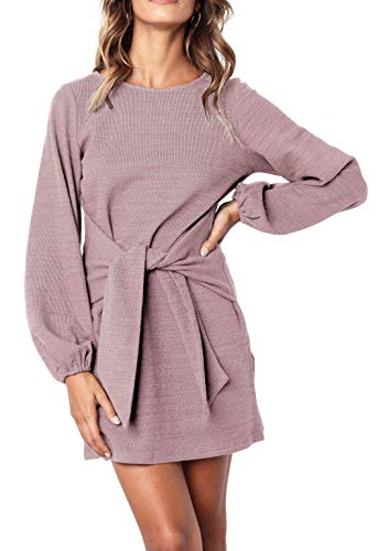 Sleeve Knitted Dress - R.Vivimos Women's Autumn Winter Cotton Long Sleeves Elegant Knitted Bodycon Tie Waist Sweater Pencil Dress (Small, Light Violet)