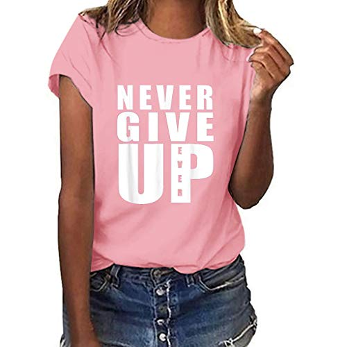 (Eoeth (Never GIVE UP T-Shirt for Women Casual Plus Size Print Short Sleeve Multicolor Loose Blouse Simple Sports Tops Pink )