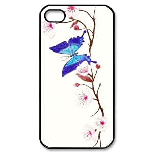 Cheap phone case, Animal Series, beautiful Butterfly and blossom pattern for black plastic iphone 4,4s case
