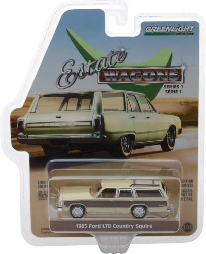 1985 Ford LTD Country Squire with Roof Rack Cream with Wood Paneling Estate Wagons Series 1 1/64 Diecast Model Car by Greenlight 29910 F