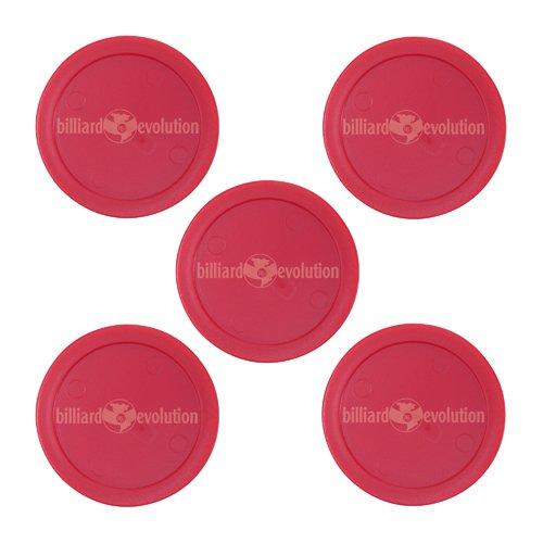 5 Red Round Air Hockey Pucks in Drawstring Storage Bag