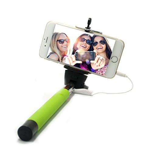- I-kool Selfie Stick, Quicksnap Pro 3-in-1 Self-portrait Monopod Extendable Wireless Bluetooth Selfie Stick with Built-in Bluetooth Remote Shutter with Adjustable Phone Holder for Iphone 6, Iphone 6 Plus, Iphone 5 5s 5c, Android and Motorrola (Green W/Cable No bluetooth)