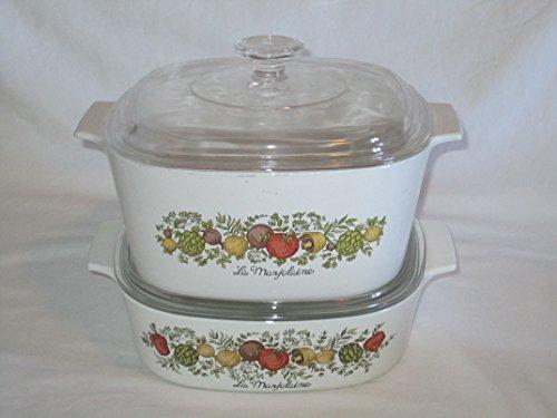 4 PIECE SET - Vintage Corning Ware Spice O' Life Covered Casserole Baking Dishes Vintage Corningware Spice