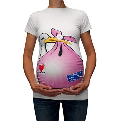 (IAMUP Womens Maternity Cute T Shirts Funny Pattern Print Short Sleeve Casual Summer T-Shirt Pregnant Tops)