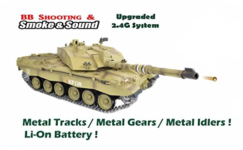 2.4Ghz 1/16 British Challenger 2 Air Soft RC Battle Tank Smoke & Sound (Upgrade Version w/ Metal Gear & Tracks)