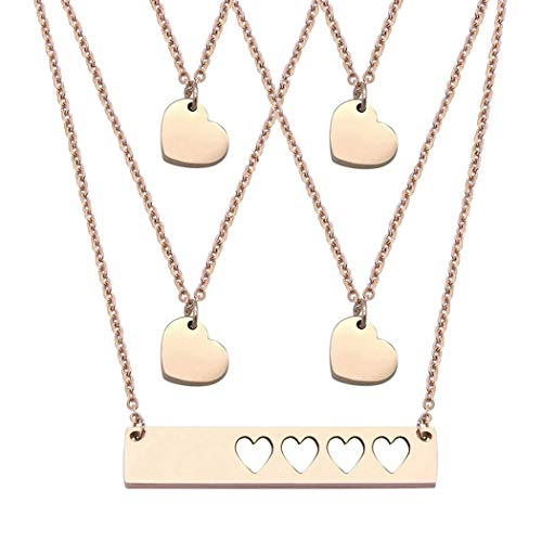 JJTZX Mother Daughter Bar Necklace Set Horizontal Bar Necklace with Cutout Heart Mommy and Me Bar Necklace Set First Day of Kindergarten Gift (Rose Gold bar Set-4 Hearts)