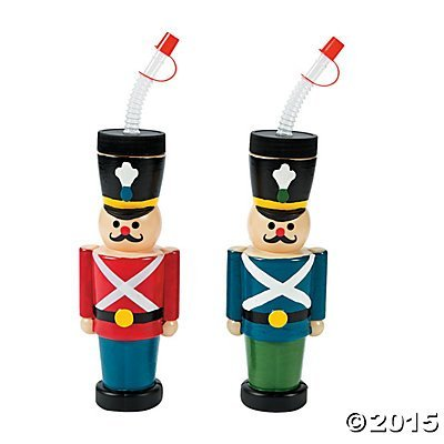 Molded Nutcracker Cups with Lids & Straws by Oriental Trading