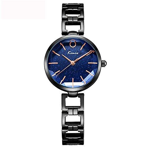 (Tayhot Black Stainless Steel Women Quartz Watch,Lady Girls Star Dial Analog Bracelet Strap Simple Casual Dress Watch with Sky Blue Dial)