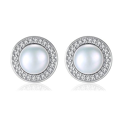 Freshwater Pearl Stud Earring Sterling Silver Earrings Cubic Zirconia Fine Jewelry for Women, Pearl 8mm