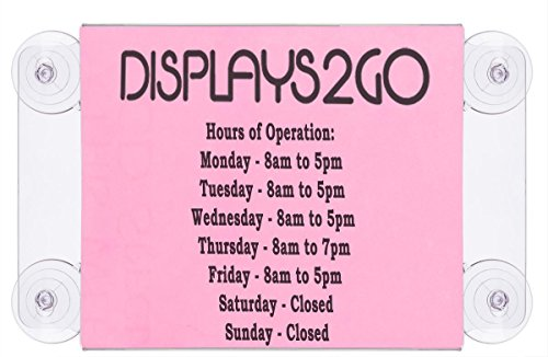 Displays2go 8.5 x 11 Inches Window Sign, Horizontal, Suction Cup Mount, Clear Acrylic, Set of 2 (GWM1185H)