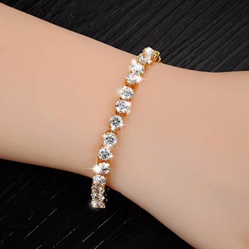 Crystal Series Mother Of Pearl (Hip Hop Bracelet,Hemlock Women Men Rhinestone Bracelet Chain Bling Crystal Bracelet (Gold))