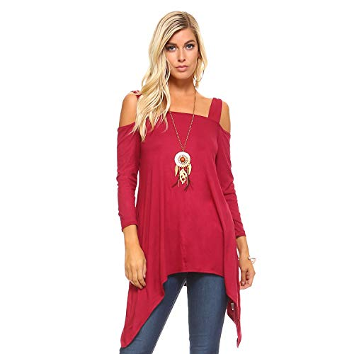 41ccb669f94 Isaac Liev Flowy Wide Strap Cutout Cold Shoulder 3/4 Sleeves Tunic Top