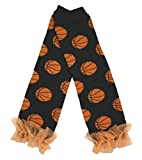 Sport Wear Black Orange Basketball Pattern Cotton Leg Warmer Sock Accessory 2-6y