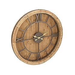 Benzara Antique Colonial Stylish Metal Wall Clock, 40 Diameter, Natural Wood Brown