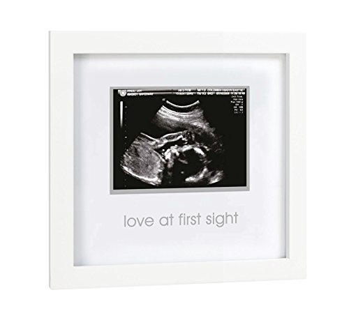 (Pearhead Love at First Sight Sonogram Keepsake Frame - Perfect Gift for Expecting Parents, White)