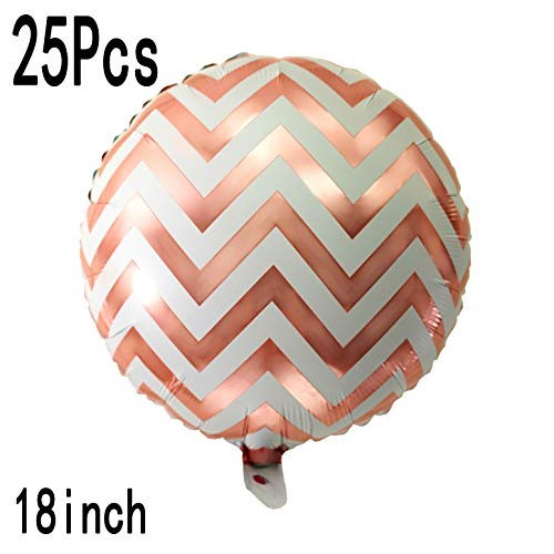 Rose Gold Bachelorette Party Chevron Foil Mylar Balloons Wedding Engagement Baby Shower Birthday Nursery Party Favors Balloons Decorations, 25pc