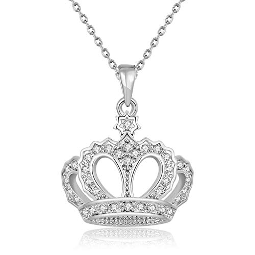 ATDMEI Princess Queen Crown Pendant Necklace Sterling Silver Plated for Women Girls Zircon Jewelry Gifts