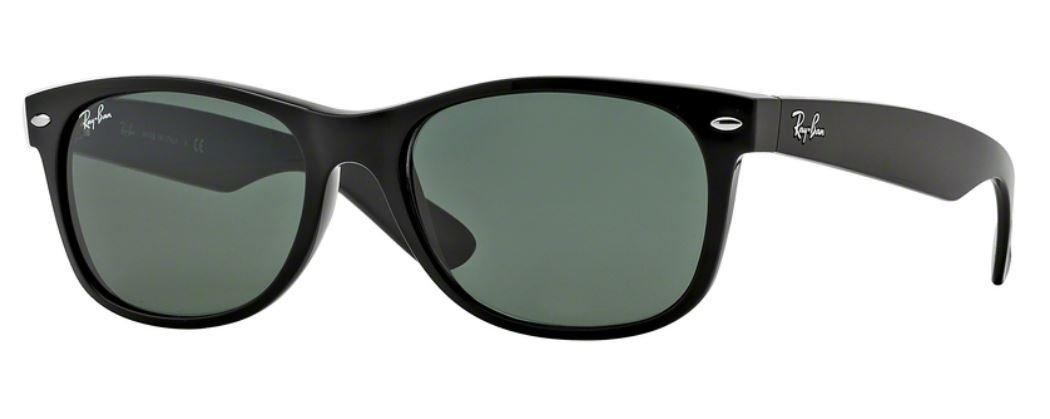 Ray_Ban New Wayfarer Sunglasses (Shiny Black w/Black Solid G15 Lens, 55mm)