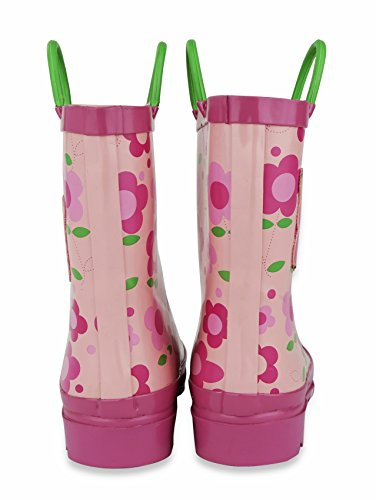 Pictures of Little Girl's Pink Flower Rain Boots Sizes 11/12 10.5 M US Little Kid 5