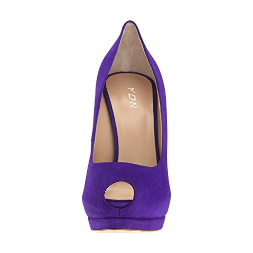 Purple Women Suede On Shoes High Sexy Platform Peep Dress Toe Ballroom YDN Slip Heel Pumps T61wq1Cn