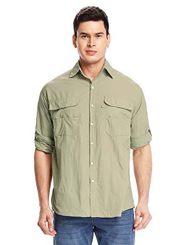 Asfixiado Men Outdoor Uv Protection Fishing Safari Shirts,Lightweight Nylon Quick Dry Cooling Long Sleeve for Travel Sailing Camping Hiking #M5023 Khaki-L