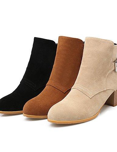 XZZ/ Damen-Stiefel-Kleid-Kunstleder-Blockabsatz-Modische Stiefel-Schwarz / Gelb / Beige black-us8.5 / eu39 / uk6.5 / cn40