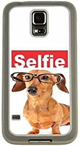 Rikki KnightTM Selfie Brown Daschund Dog Design Samsung? Galaxy S5 Case Cover (Clear Rubber with Bumper Protection) for Samsung Galaxy S5 i9600 by ruishername