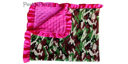 Soft and Cozy Large Minky blanket - Camo with Satin Trim