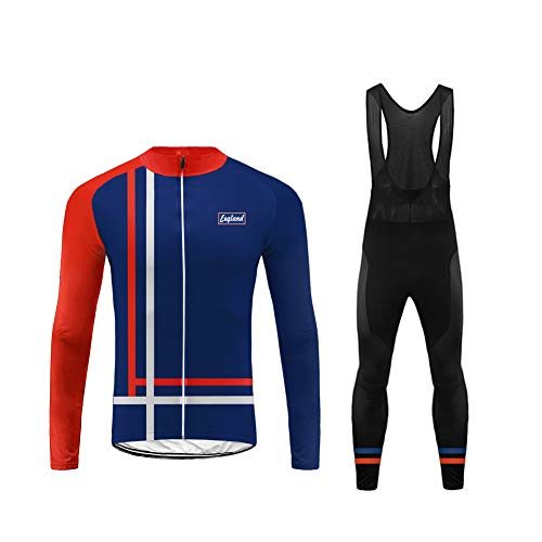 (Uglyfrog USH19LJDT04 US National Flag Color Matching Mens Classic/Basic Cycling Jersey Winter Thermal Bike Top + Cycling Bib Tights Set Bicycle Equipment-Two Pieces)