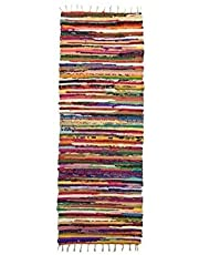 Bazaar Misr Natural Egyptian Hand Made Cotton Carpet, 70x200 cm recycle material colorful rag rug KIRGRE07201