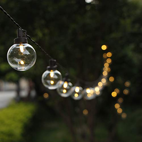 MYHH-LITES G40 Globe Solar String Lights with Backup Battery Power&Remote Control, 38.6FT Outdoor Waterproof Lights with 50 Warm White LED Bulbs, Great for Patio Garden Christmas Wedding Party Decor (Globe Outdoor String Solar Lights)