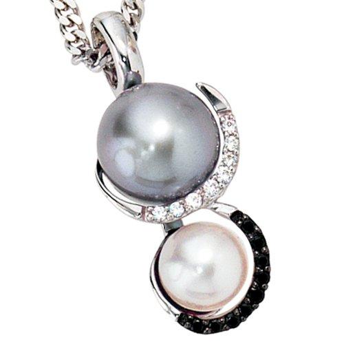 Pendentif en or blanc 585 avec 2 perles d'eau douce et de trois strass 0,11ct 17.