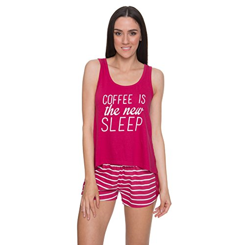 Sleep & Co Women's Plus Size Coffee Graphic Tank Top and Shorts Sleepwear Pajama Set Cherry 3X-Large