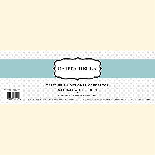 White Linen Cardstock (Carta Bella Paper Company Linen Cardstock, 80 lb, Natural/White)