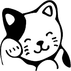 Kitty Cat Waving Vinyl Decal Sticker|Cars Trucks Vans Walls Laptops Cups|Black|5.5 In|KCD852