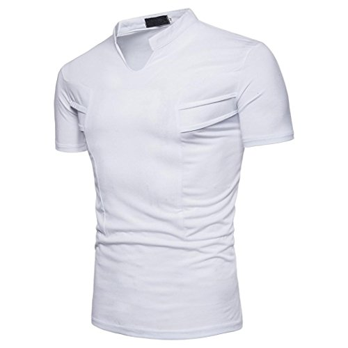 Misaky Fashion Men Blouse Short Sleeve Slim Fit Shirt Solid Causal Tops Golf Shirt Polo (L, White)