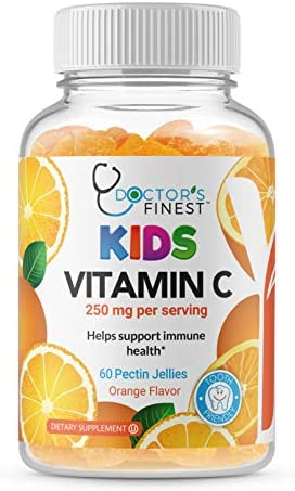 Doctors Finest Vitamin C Gummies for Kids – Vegan, GMO Free & Gluten Free – Great Tasting Orange Flavor Pectin Chews – Kids Dietary Supplement – 250 mg of Vitamin C 60 Jellies [30 Doses]