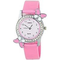NUBELA Pink Analogue Diamond Studded White Dial Quartz Movement Girl's Watch -(DG_BF)
