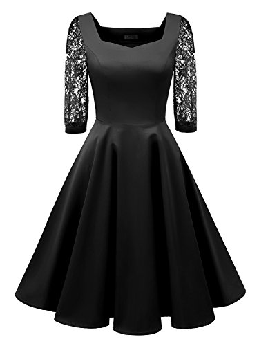 IVNIS Women's Vintage Square Neck Floral Lace 3/4 Sleeve Cocktail Swing Dress Black L