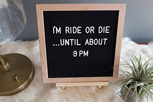 Black Felt Letter Board Message Board 10 by 10 with 290 White Changeable Letters and 150 Symbols Made from Recyclable Plastic Oak Frame Large Pieces Hanging Sign with Stand and Canvas Bag by Lioness