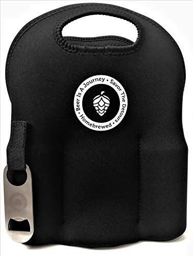 Holder Insulated (Neoprene Six (6) Pack Bottle Carrier With Removeable Bottle Opener Extra Thick Insulated Bottle Holder Keeps Drinks Cold~ Beer Carrier ~ Beer Is A Journey Six Pack Carrier)