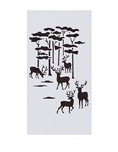 Forest Deer Nature Landscape Scene Stencil Amazon In Electronics