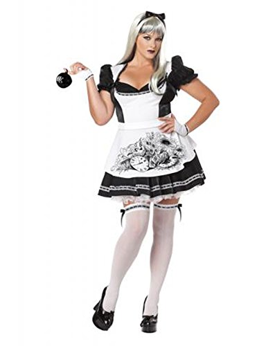 California Costumes Plus-Size Dark Alice Dress, Black/white, 2XL (18-20) Costume