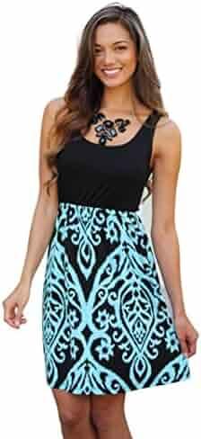 f6b18fe3764 Sunward(TM) Sexy Women Damask Printing Sleeveless Beach Dress
