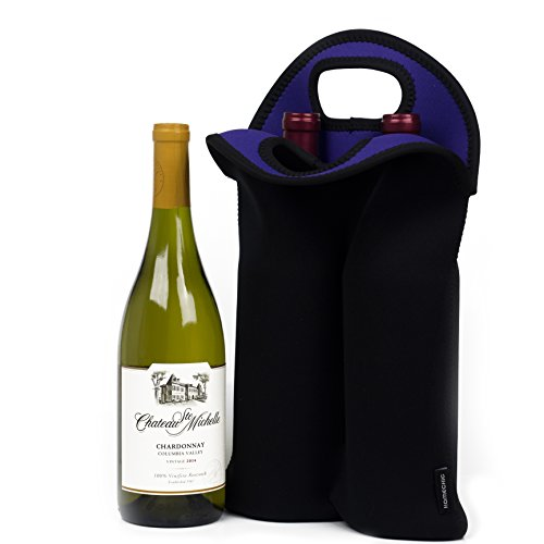 HomeChic Insulated Neoprene 2 Bottle Tote Wine- Great for Picnics, Beach, Camping, Parties