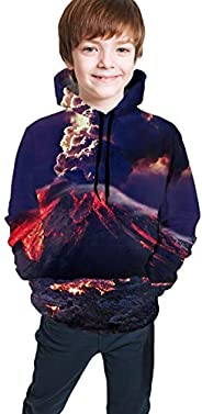 TVHKSO Youth Hoodies Pullover Volcano Eruption Sweater Hooded with Pocket Sweatshirt for Boys Girls
