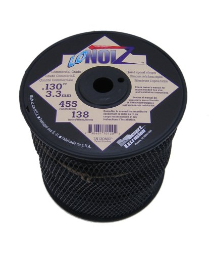 - LoNoiz .130-Inch 3-Pound Spool Commercial Grade Spiral Twist Quiet Grass Trimmer Line, Black LN130MSP-2