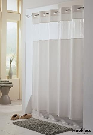 Amazon.com: Viewtop FABRIC Shower Curtain HOOKLESS - WHITE with ...