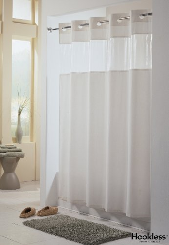 Amazoncom Viewtop Fabric Shower Curtain Hookless White With
