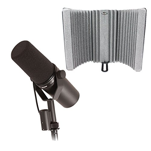 Shure SM7B DynaMic Vocal Mic w/ Auralex MudGuard Studiofoam Mic Isolation Shield